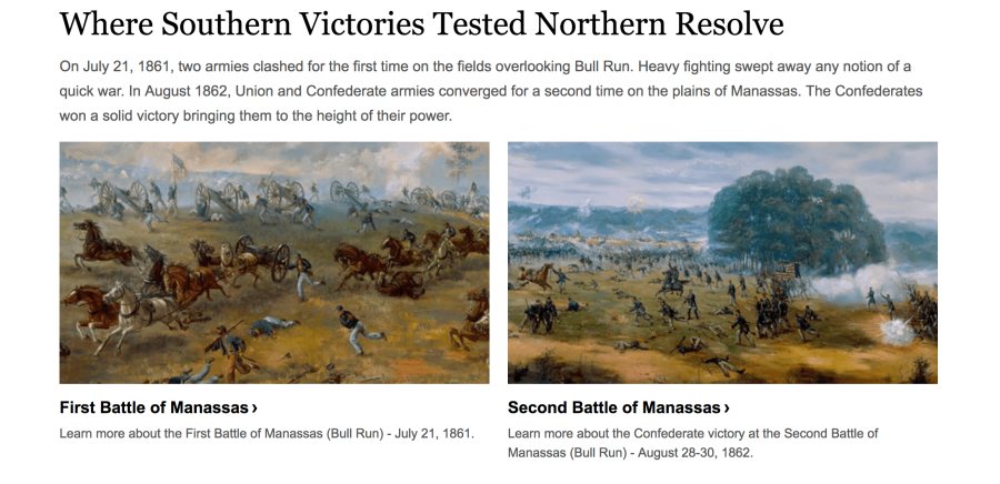 Screenshot of the landing page for the Manassas National Battlefield Park.